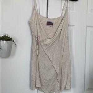 Off white linen blend wrap mini dress